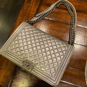 Chanel Boy Large Le Silver Leather Shoulder Bag